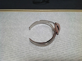 Silver Tone Geo Jewelry Bracelet with Light Pink Stone Oval Shape image 3