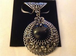 Silver Tone Filigree Design Silver Tone Black Stone Clear Crystal Scarf Pendant image 2