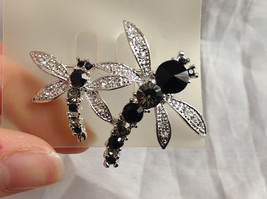 Silver Tone Double Dragonfly Crystal Brooch/Pin Black Clear Stones Pin Closure image 3
