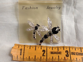 Silver Tone Double Dragonfly Crystal Brooch/Pin Black Clear Stones Pin Closure image 7