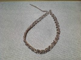 Silver Tone Rhinestone Necklace Many Crystals Adjustable Length Lobster Clasp image 4