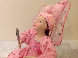 Sitting Pink Fairy Ceramic Face Body Hat Wand Long Hair image 8