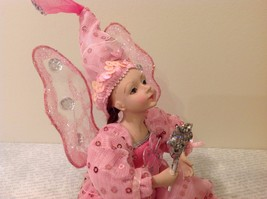 Sitting Pink Fairy Ceramic Face Body Hat Wand Long Hair image 7