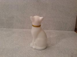 Sitting White Glass Cat Figurine EMPTY Cologne Jar Avon image 4