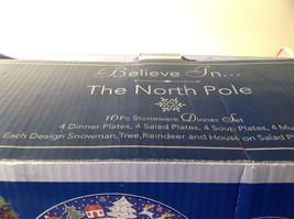 Sixteen Piece Stoneware Dinner The North Pole Snowman Tree Reindeer House set image 4