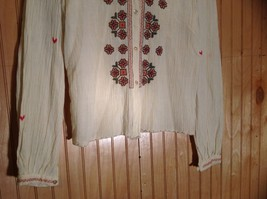 Size 1 Long Sleeve Button Up Off White Shirt Stitched on Designs image 3