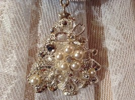 Silver Tone Tree Bells Hat Stars Silver Crystals White Beads Scarf Pendant image 7