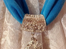 Silver Tone Tree Bells Hat Stars Silver Crystals White Beads Scarf Pendant image 8