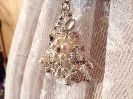 Silver Tone Tree Bells Hat Stars Silver Crystals White Beads Scarf Pendant image 9