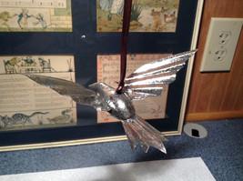 Silver Tone Vintage Look Bird Ornament image 6