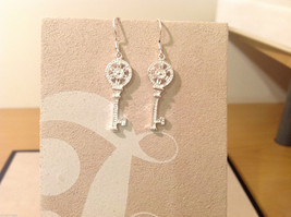 "Silver plated with clear crystals Key dangling earrings, 1-1/4"" long image 2"