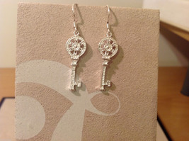 "Silver plated with clear crystals Key dangling earrings, 1-1/4"" long image 3"