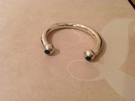 """Silver tone metal cuff bracelet with malachite stone ends, 2"""" wide image 2"""