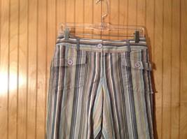 Size 6 Tan White Blue Capri Pants Anne Taylor Loft Stretch Two Front Pockets image 2
