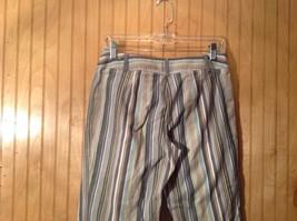 Size 6 Tan White Blue Capri Pants Anne Taylor Loft Stretch Two Front Pockets image 7