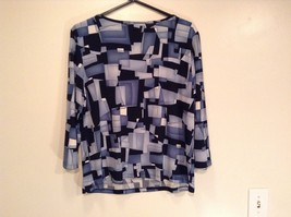 Size XL Blue Black Long Sleeve Blouse Stretchy Briggs NY Excellent Condition image 7