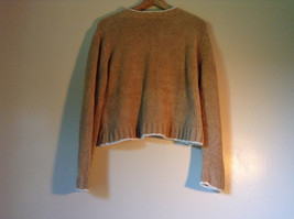 Size XL Light Brown Trimmed with White Rave Long Sleeve Sweater image 3