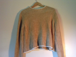 Size XL Light Brown Trimmed with White Rave Long Sleeve Sweater image 2