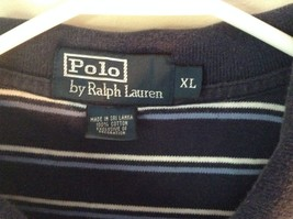 Size XL Navy Blue and White Striped Polo by Ralph Lauren Short Sleeve Polo Shirt image 5