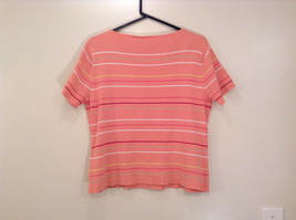 Size XL Liz Claiborne Sport Short Sleeve Salmon Pink with Stripes Scoop Neck image 2