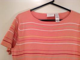 Size XL Liz Claiborne Sport Short Sleeve Salmon Pink with Stripes Scoop Neck image 3