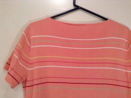 Size XL Liz Claiborne Sport Short Sleeve Salmon Pink with Stripes Scoop Neck image 5