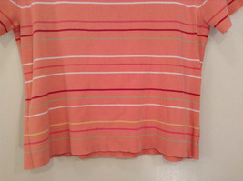 Size XL Liz Claiborne Sport Short Sleeve Salmon Pink with Stripes Scoop Neck image 6