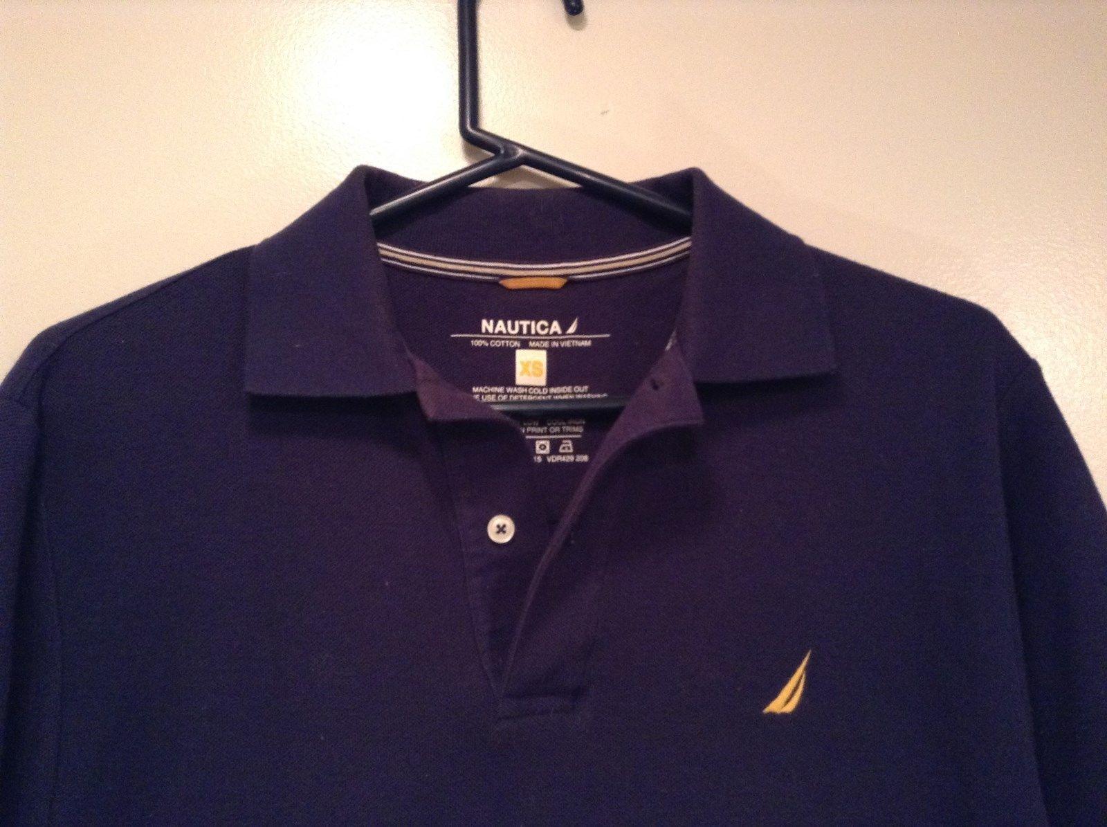 Size XS Nautica Dark Blue 100 Percent Cotton Short Sleeve Collared Polo Shirt