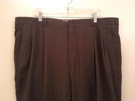 Slates Basic Brown Gray Pleated Front Polyester Dress Pants Size 42W 32 L image 3