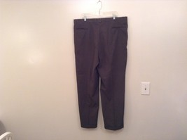 Slates Basic Brown Gray Pleated Front Polyester Dress Pants Size 42W 32 L image 2