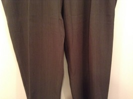 Slates Basic Brown Gray Pleated Front Polyester Dress Pants Size 42W 32 L image 4