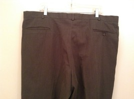 Slates Basic Brown Gray Pleated Front Polyester Dress Pants Size 42W 32 L image 7