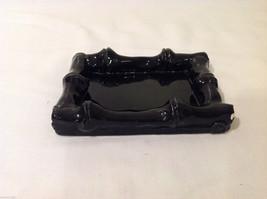 Small Black Ceramic Glazed Handmade Bamboo Design Tray or Soap Dish image 4