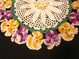 Small Crocketed Dolie Floral White Purple Yellow 12 Inch W 12 Inch L image 3