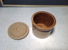 Small Ceramic Tan and Brown Spice Pot Canister with Lid image 5
