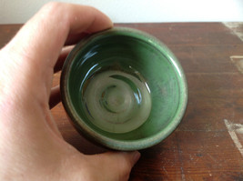 Small Ceramic Hand Crafted Artisan Bowl Green Glazed image 5