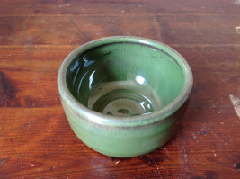 Small Ceramic Hand Crafted Artisan Bowl Green Glazed image 3