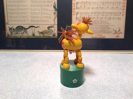 Small Childrens Wooden Yellow Cow String Toy on Green Base Push Bottom Action image 4