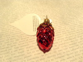 Small Red Gold Pine Cone German Christmas Glass Tree Ornament Handmade image 2