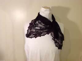 Small Triangle Black Floral Lace Scarf image 3