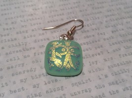 Square Shaped Glass Cream Green Dangling Earrings Metallic Accents image 3