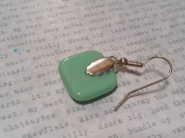 Square Shaped Glass Cream Green Dangling Earrings Metallic Accents image 4