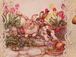 Spring Easter Bunnies Flowers Vintage Russian Artist Handmade Canvas L Mironova image 3