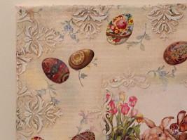 Spring Easter Bunnies Flowers Vintage Russian Artist Handmade Canvas L Mironova image 4