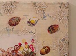 Spring Easter Bunnies Flowers Vintage Russian Artist Handmade Canvas L Mironova image 5