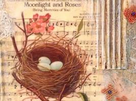 Spring Canvas Russian Handmade Nest with 3 Robin Eggs Artist L Mironova Vintage image 3
