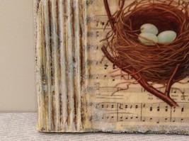 Spring Canvas Russian Handmade Nest with 3 Robin Eggs Artist L Mironova Vintage image 6