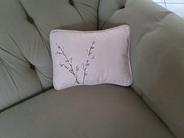 Spring Harbinger Pussy Willow Tan Beige Canvas Porch Pillow Forest Lane Dept 56 image 3