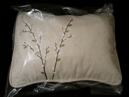 Spring Harbinger Pussy Willow Tan Beige Canvas Porch Pillow Forest Lane Dept 56 image 5