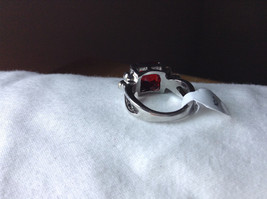 Square Red CZ with Round CZ Accents Stainless Steel Ring Size 6.75 image 3